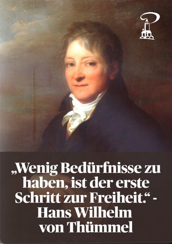 Portrait Hans Wilhelm von Thümmel mit einem seiner Aphorismen