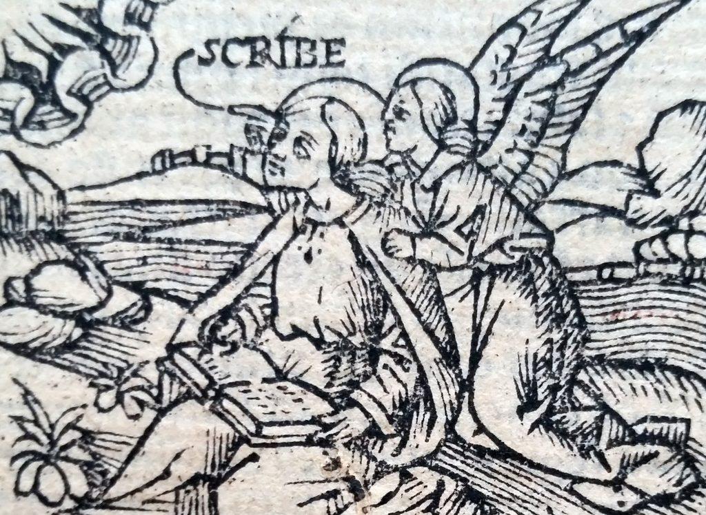 Ein Holzschnitt aus der in Posterstein gezeigten Biblia Latina Vulgata von 1519, die zur MuseumWeek Aufsehen erweckte.