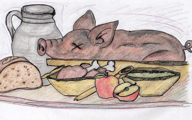 Tiere wie Rinder, Hühner und Schweine wurden schon im Mittelalter gezüchtet, um gegessen zu werden.