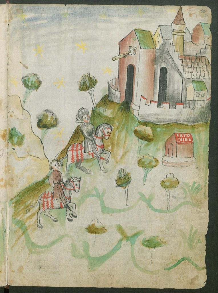 Zu Pferd war man im Mittelalter über Land am schnellsten unterwegs. Die Zeichnung stammt aus dem Fechtbuch von Hans Talhoffer in den 1440er Jahren. Sie wird in der Forschungsbibliothek Gotha der Universität Erfurt aufbewahrt. (aus: Hans Talhofer: Fechtbuch, CC-BY-SA, Forschungsbibliothek Gotha der Universität Erfurt)