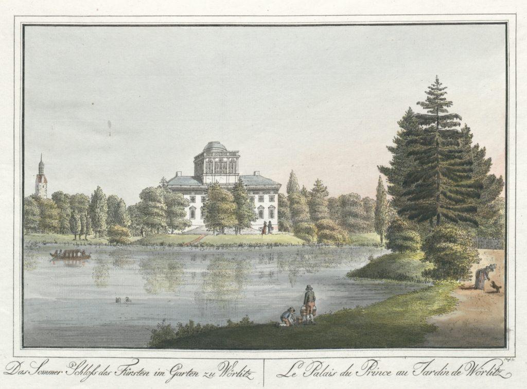 Das Sommer Schloss des Fürsten im Garten zu Wörlitz. Le Palais du Prince au Jardin de Wörlitz | Nagel, Johann Friedrich (Public Domain, Österreichische Nationalbibliothek).
