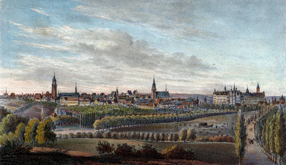 Altenburg im 19. Jahrhundert, kolorierte Lithografie, Museum Burg Posterstein