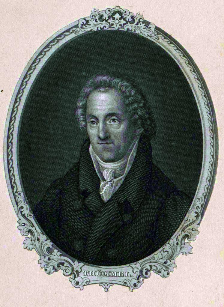 Der Dichter Moritz August von Thümmel auf einer Lithografie nach dem Gemälde von Louise Seidler, Museum Burg Posterstein