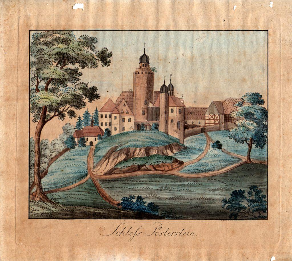 Mittelalterliche Straßen waren oft nur holprige Sandwege. Hier siehst du eine historische Ansicht von Burg Posterstein. Das Bild entstand aber nicht im Mittelalter, sondern erst später, nämlich im 18. Jahrhundert.