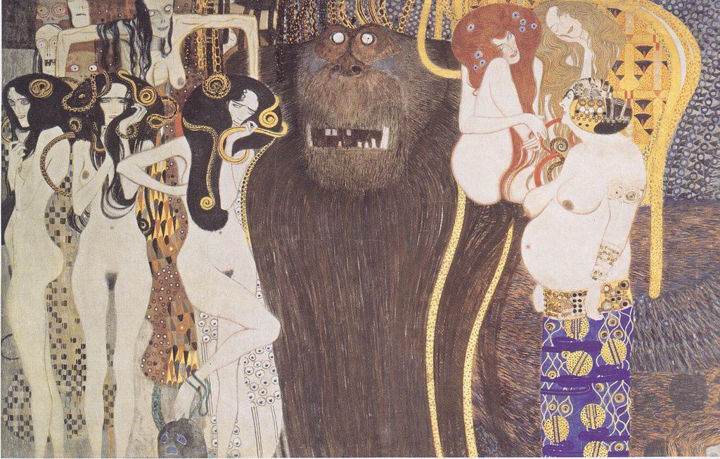 """Das Prinzip Hoffnung dagegen setzen. """"Die feindlichen Gewalten"""" Detail im Beethoven Fries von Gustav Klimt, heute in der Galerie Belvedere (Wien), [CC0] via Wikimedia Commons"""