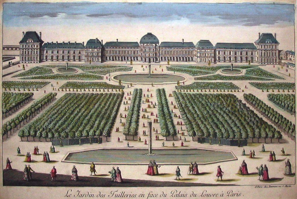 Historische Ansicht des Gartens des Louvre in Paris