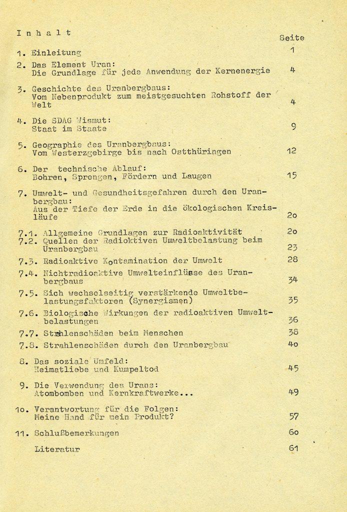 """Inhaltsverzeichnis: """"Pechblende der Uranbergbau in der DDR und seine Folgen"""""""