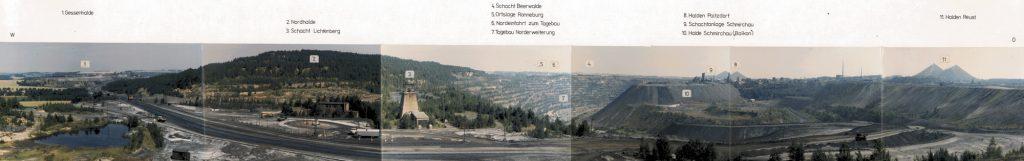 Bergbaugebiet Schmirchau, Tagebau Lichtenberg, Kegelhalden Paitzdorf und Reust im Hintergrund. ©Fotomontage, Wismut GmbH 1991