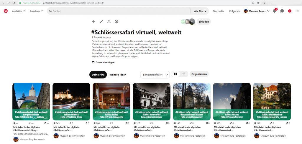 Das neue Pinterest-Board zur #Schlössersafari ist zum Mitmachen angelegt