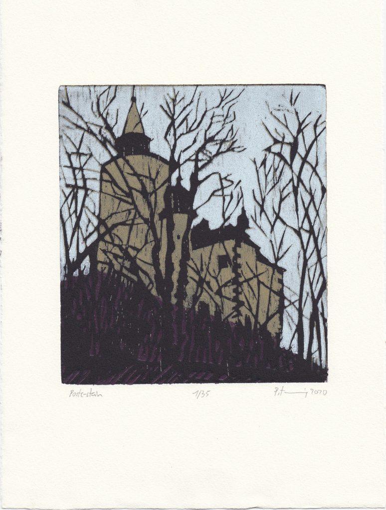Holzschnitt Burg Posterstein von Peter Zaumseil
