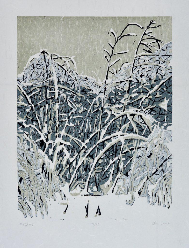 """Holzschnitt """"Neuschnee"""" von Peter Zaumseil"""