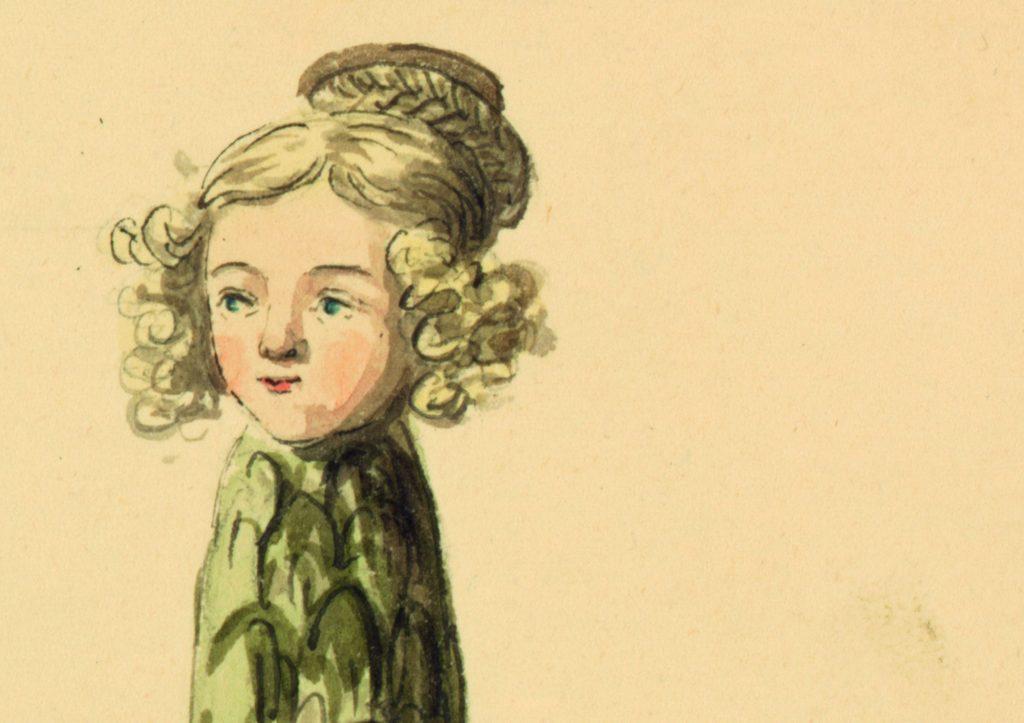 Ausschnitt aus der Zeichnung Ernst Welkers, die Emilie von Binzer als Spargel darstellt.