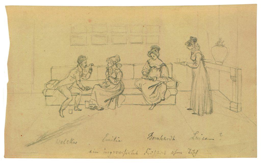 Ernst Welker (links) und Emilie von Binzer (2. von links) im Salon der Herzogin von Kurland in Löbichau. - Eine Zeichnung aus dem Konvolut aus Binzers Besitz, das sich nun in der Sammlung Kurland des Museums Burg Posterstein befindet.