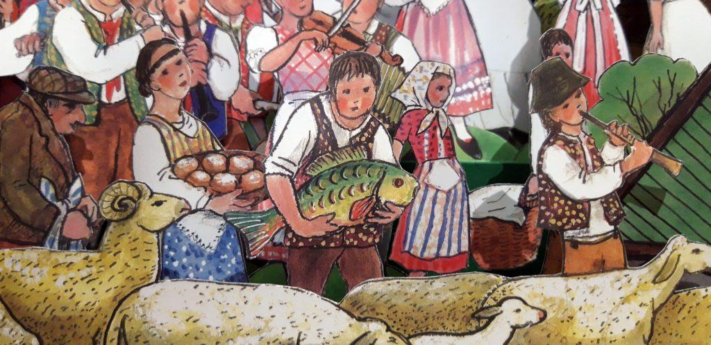 """Junge mit Karpfen in einer Papierkrippe, entworfen vom Künstler Jiri Skopek, erschienen im Konrad-Verlag unter dem Titel """"Skopek – Folkloristische Weihnachtskrippe""""."""