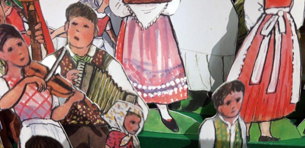 """Detail aus der Papierkrippe, entworfen vom Künstler Jiri Skopek, erschienen im Konrad-Verlag unter dem Titel """"Skopek – Folkloristische Weihnachtskrippe""""."""