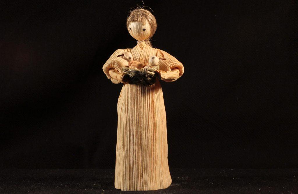 Figur aus einer böhmischen Maisstroh-Krippe (Sammlung Museum Burg Posterstein, VI 84 K6/Ri)