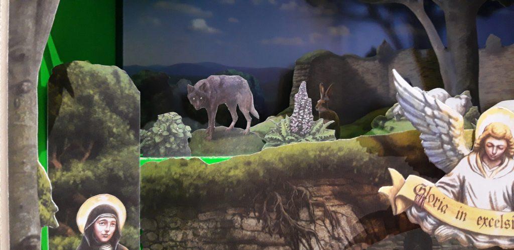 """Detail mit Wolf in der Papierkrippe von Adolf Lachmann und Radim Dusek. Sie trägt den Titel """"Lanspersky betlem, Christmas nativity scene"""" und entstand 2011 in Usti nad Orlici."""