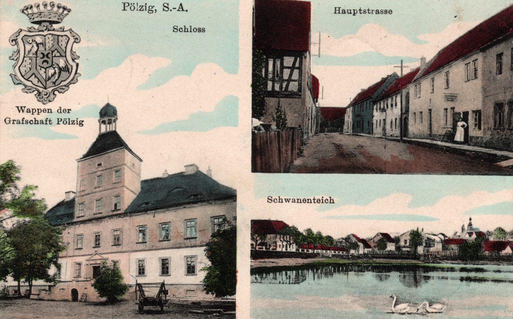 Ansichtskarte des Ritterguts Pölzig mit Schloss, Hauptstraße und Schwanenteich (Sammlung Museum Burg Posterstein)