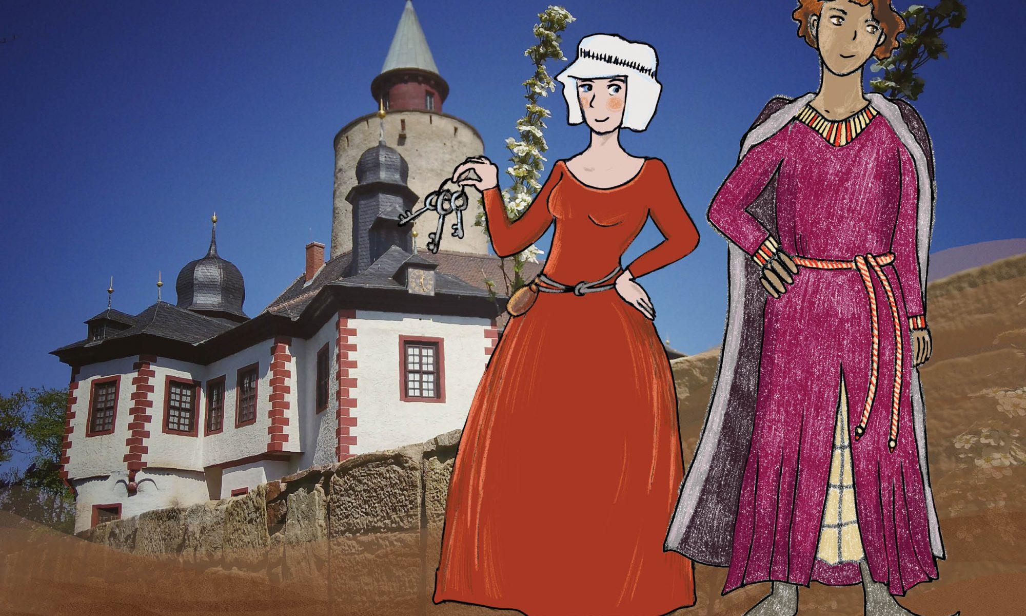 Kinderburg - Kleidung im Mittelalter - Burg Posterstein mit Burgherrin und Bergherr