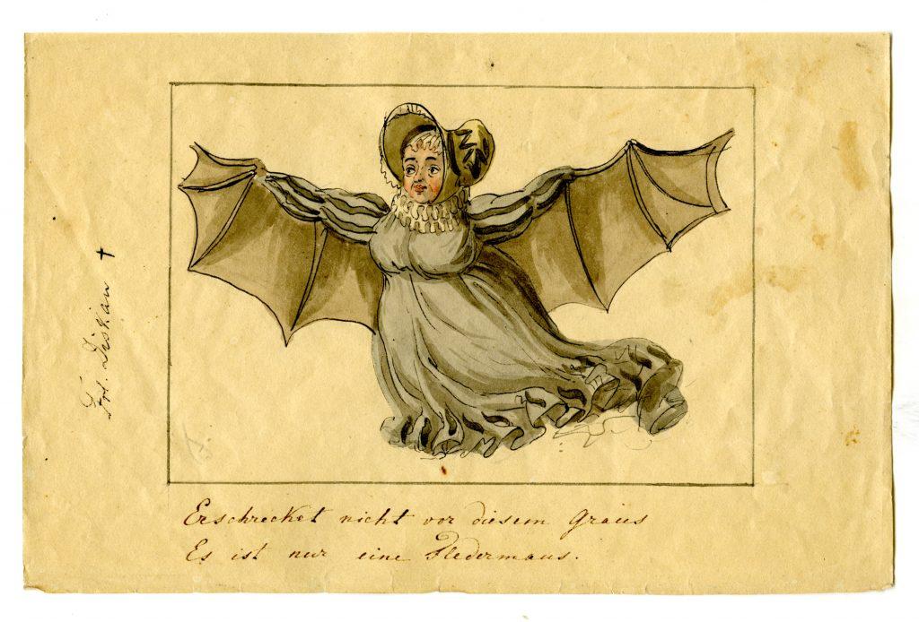 Sidonie von Diesgau portraitierte Ernst Welker als Fledermaus (Sammlung Museum Burg Posterstein)
