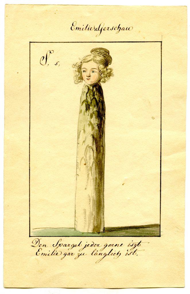 Ernst Welker portraitierte Emilie von Binzer als Spargel (Sammlung Museum Burg Posterstein)