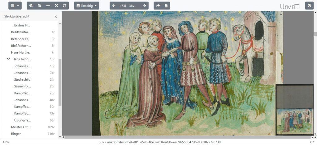 Auch im späten Mittelalter liebten die Menschen noch farbenfrohe Kleider! Hier eine Seite aus einem Fechtbuch, das in der Forschungsbibliothek Gotha aufbewahrt wird.  (Hartlieb, Johannes; Thalhofer, Hans: Bildercodex (Johannes Hartlieb [?]: Namenmantik; Hans Talhofer: Fechtbuch). ostfränkisch-nordbairisches Übergangsgebiet. 1440er Jahre (und später), 1443)