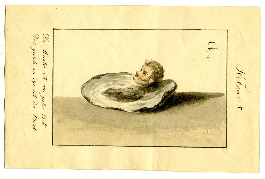 Ernst Welker stellte sich selbst als Auster dar  (Sammlung Museum Burg Posterstein)