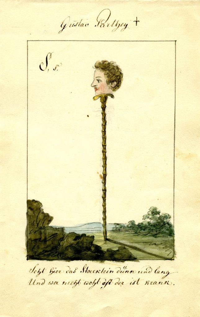 Ernst Welker portraitierte Gustav Parthey als dünnen Stock. (Sammlung Welker, Museum Burg Posterstein)