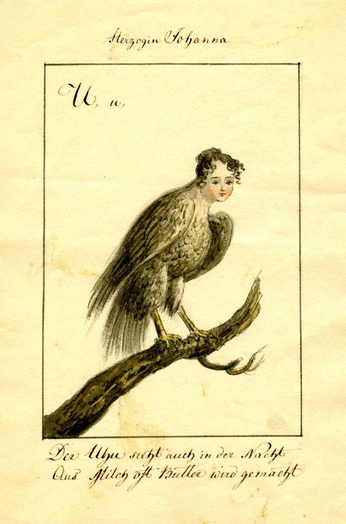Ernst Welker portraitierte Herzogin Johanna als Uhu. (Sammlung Welker, Museum Burg Posterstein)