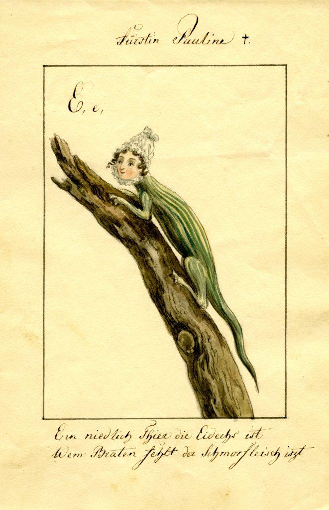 Ernst Welker portraitierte die Fürstin von Hohenzollern, Tochter der Herzogin von Kurland, als Eidechse dar. (Sammlung Welker, Museum Burg Posterstein)