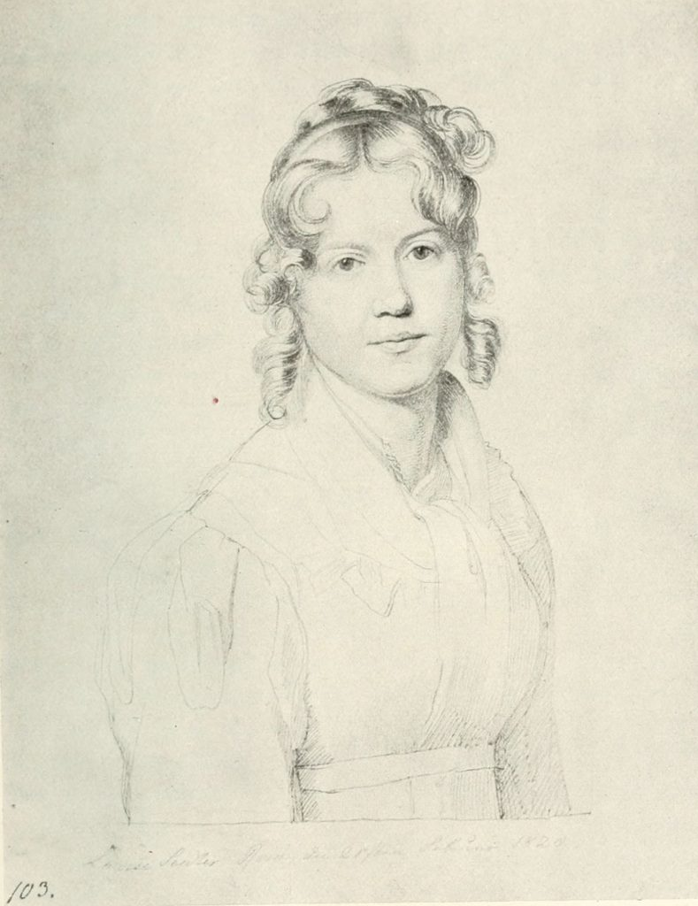 Selbstportrait der Malerin Louise Seidler (1786–1866). Aus: Hermann Uhde (Hrsg.): Erinnerungen der Malerin Louise Seidler. 2. Aufl., Propyläen, Berlin 1922, S. 228. Public domain, via Wikimedia Commons