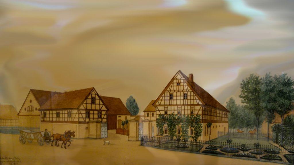 Historische Ansicht des Bauernhofs der Familie Gräfe in Zschernitzsch im Altenburger Land