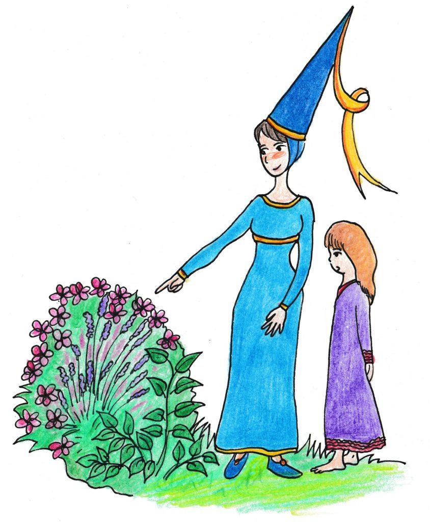 Zeichnung Burgherrin mit Kinn neben einem blühenden Busch