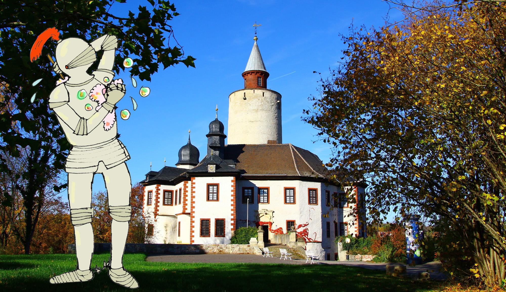 Zeichnung Ritter in Rüstung mit Seife vor einem Foto der Burg Posterstein